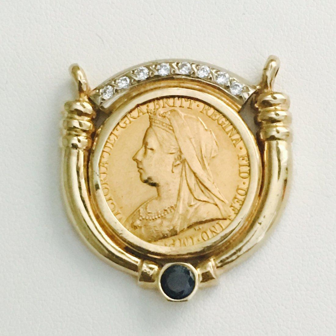 1899 QUEEN VICTORIA GOLD COIN W/ DIAMOND  BLUE SAPPHIRE - 3