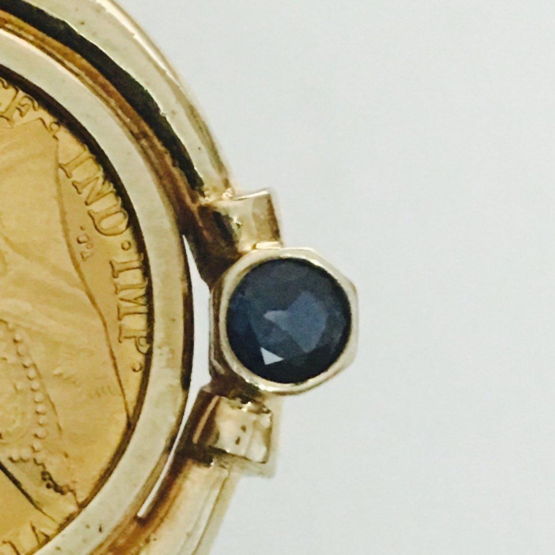 1899 QUEEN VICTORIA GOLD COIN W/ DIAMOND  BLUE SAPPHIRE - 4