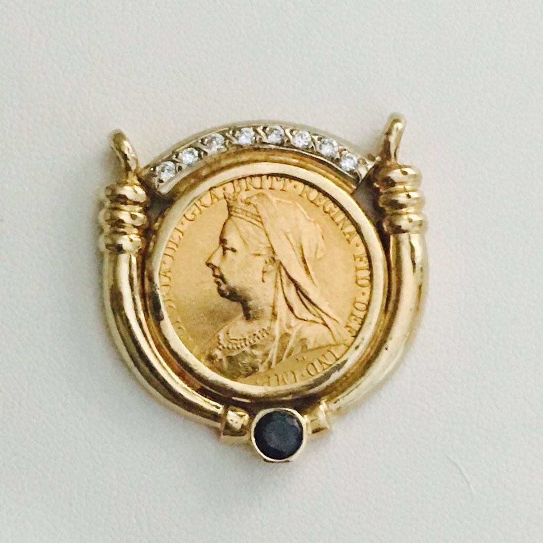 1899 QUEEN VICTORIA GOLD COIN W/ DIAMOND  BLUE SAPPHIRE - 6