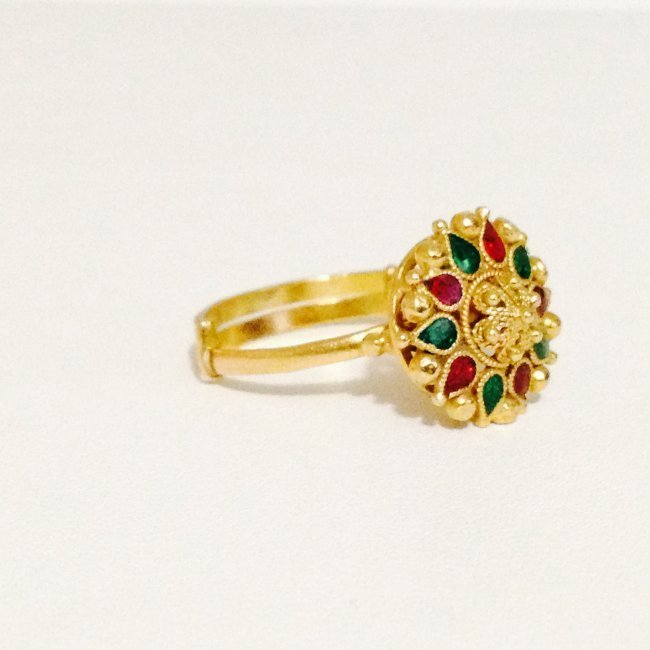22k Yellow Gold Ring Indian Ring - 2