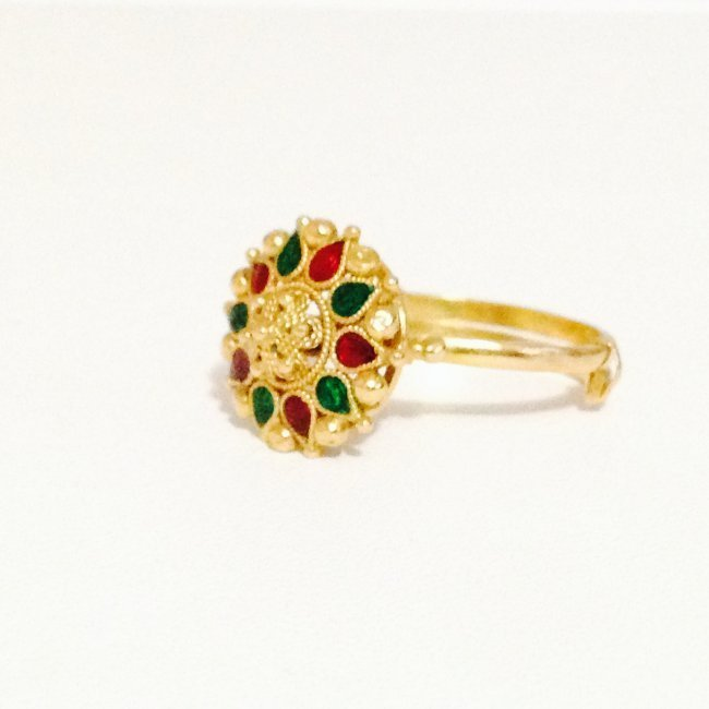 22k Yellow Gold Ring Indian Ring - 3