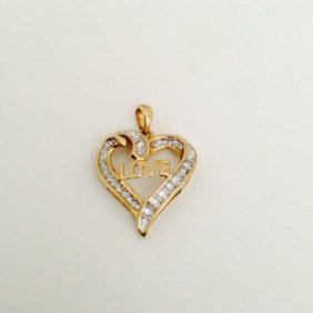 Gold And Diamond Heart Shape Love Pendant