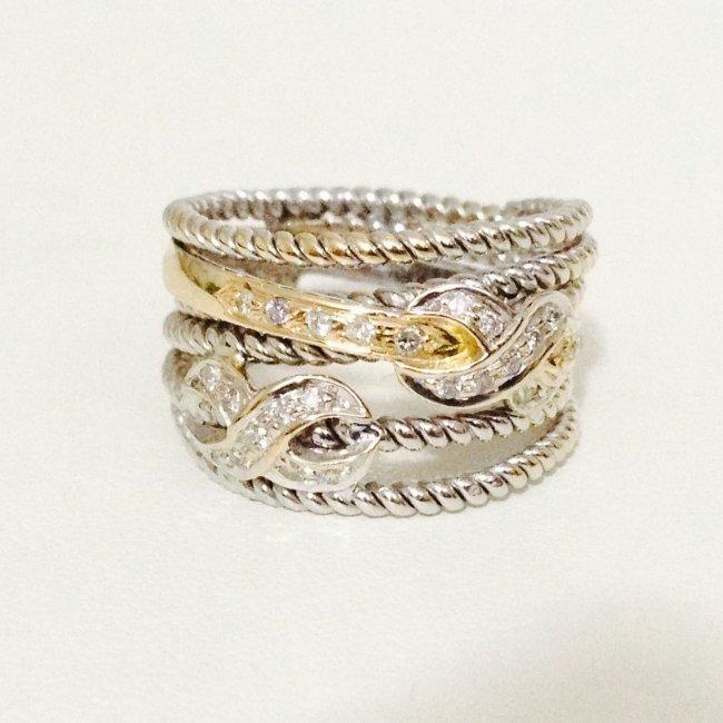 18k gold Two Tone Diamond Ring YELLOW GOLD & WHITE GOLD - 2