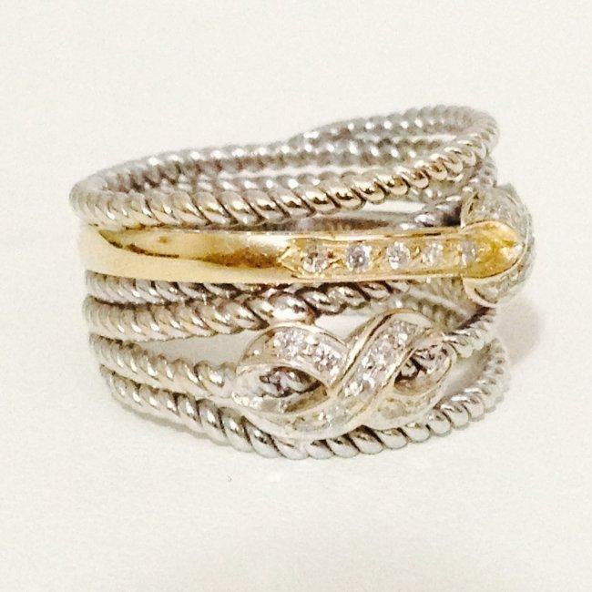 18k gold Two Tone Diamond Ring YELLOW GOLD & WHITE GOLD - 3