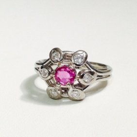Vintage Diamond And Pink Sapphire Ring
