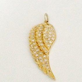 14k Yellow Gold Diamond Leaf Pendant