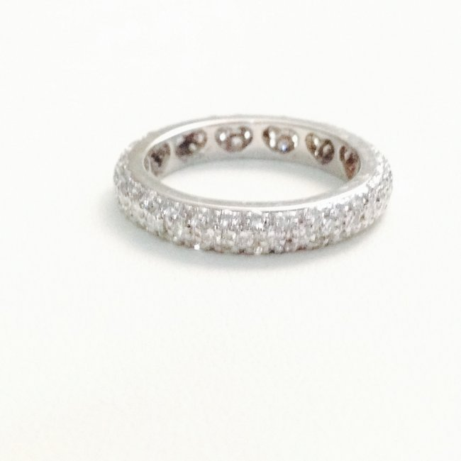 14k White Gold And Diamond Eternity Band - 2