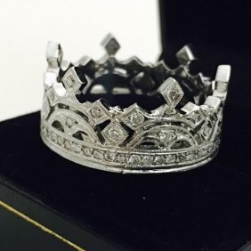 Platinum And Diamond Crown Ring