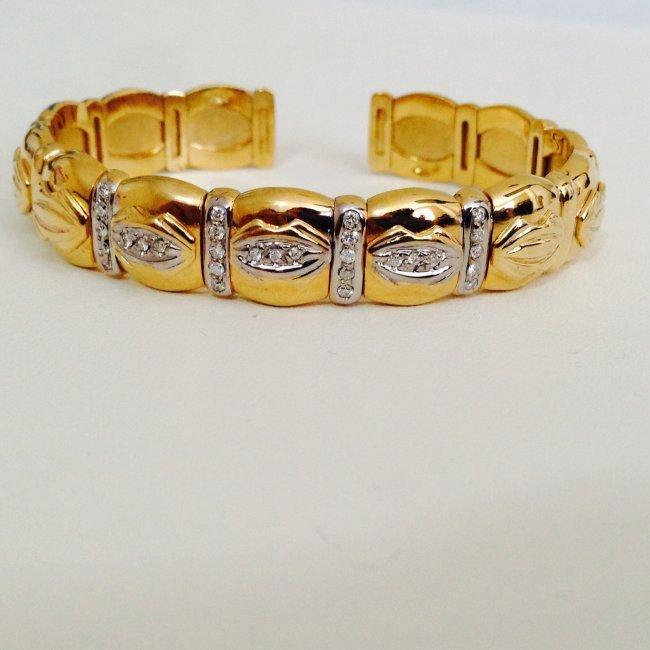 14k Yellow Gold Cartier Style Diamond Bangle/Bracelet