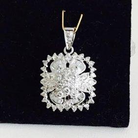 14k White Gold 2ct Diamond Pendant