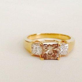18k Yellow Gold 2.70 Carat Princess Cut Diamond
