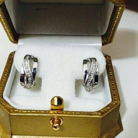 14kt White Gold And Diamond Earrings