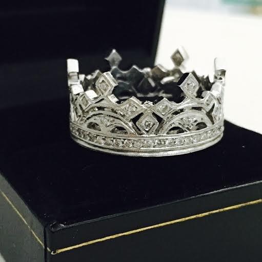 Platinum and Diamond Crown ring