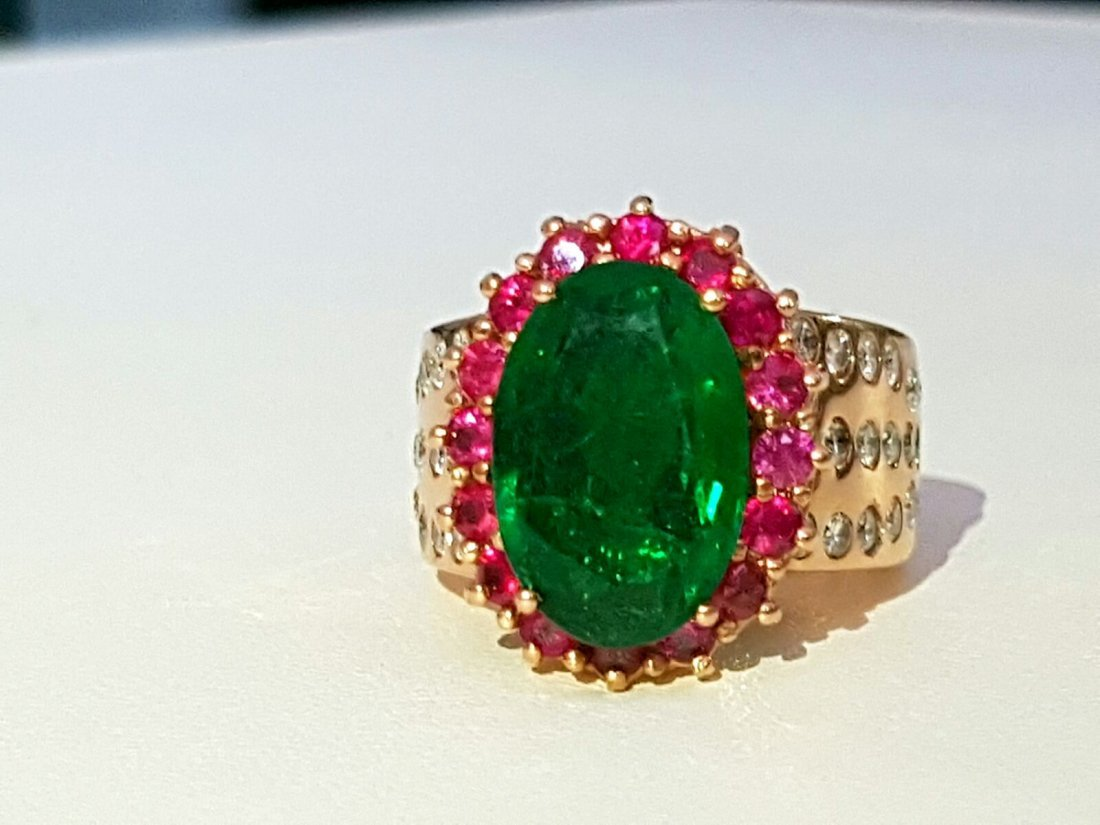 18K Rose Gold HIGH QUALITY EMERALD, RUBY & DIAMOND RING