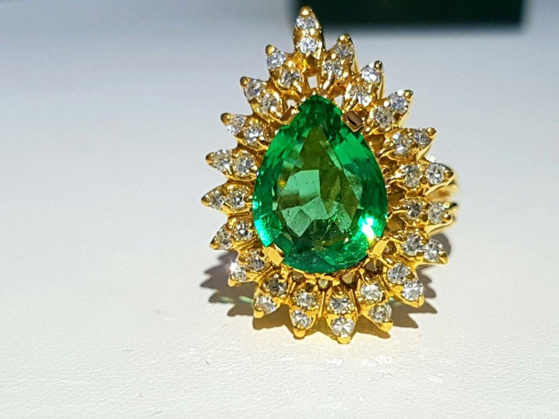 GIA GEMOLOGIST CERT 14K COLOMBIAN EMERALD &DIAMOND RING