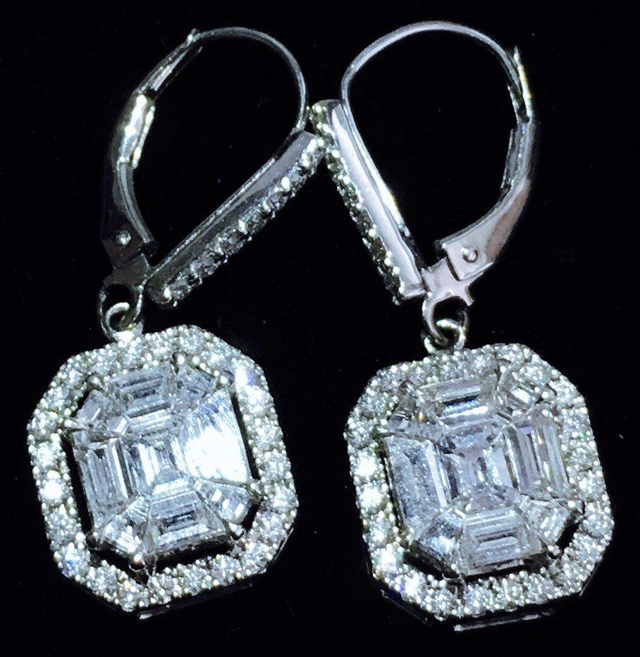 "14k White Gold, 3.50 cts ""IF"" DIAMOND EARRINGS."