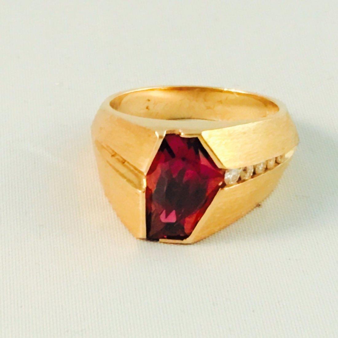 14K YELLOW GOLD, RUBELITE AND DIAMOND RING