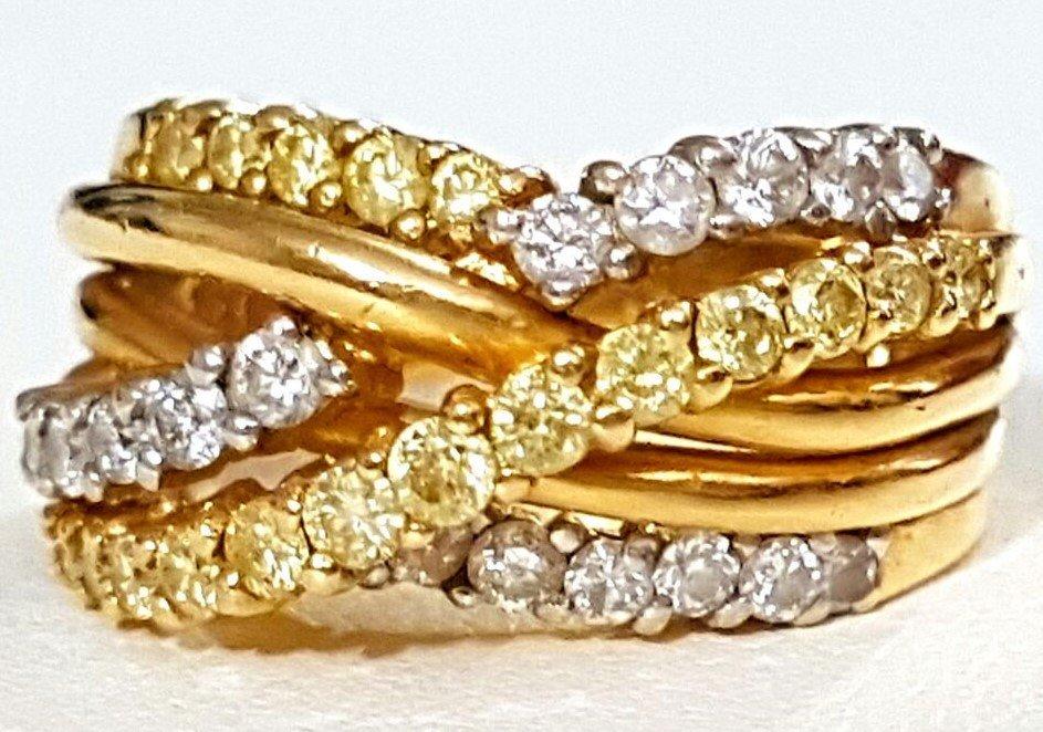 14K Gold Criss Cross Ring FANCY Yellow & White Diamonds