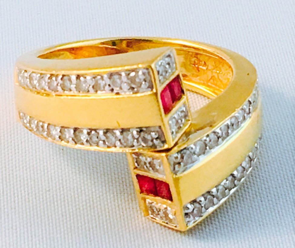 18k Gold High quality Diamond And Ruby Ring