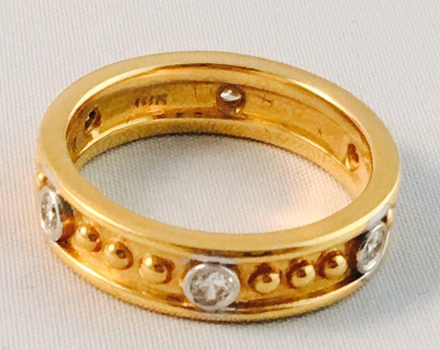 18K Yellow Gold, HIGH QUALITY WHITE DIAMOND BAND