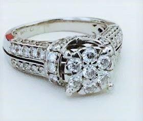 14K White Gold and White Diamond Engagement Ring.