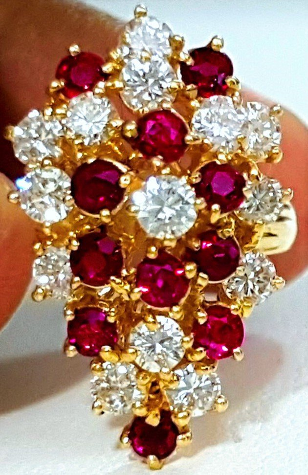 14K YELLOW GOLD DIAMOND RING AND BURMA RUBY RING