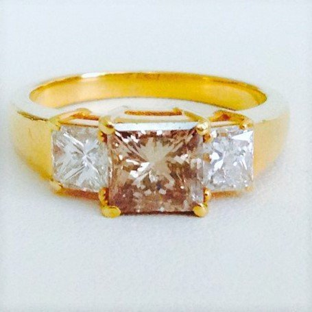 18k Certified Brown and White Diamond Engagement RING