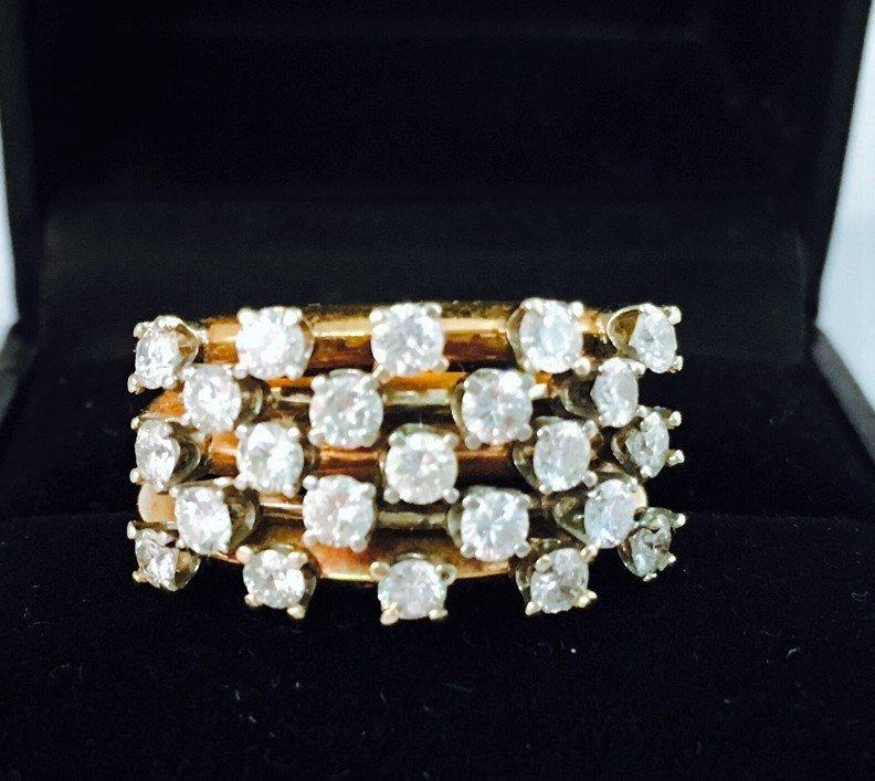 Vintage White Diamond Ring in 14k yellow gold