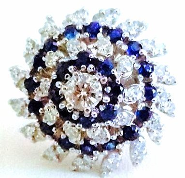14k white gold Diamond And Sapphire Cocktail Ring