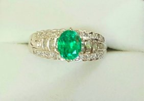 Colombian Emerald and VS Diamond Engagement Ring