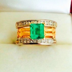 3.25 carat Colombian Emerald and Diamond ring
