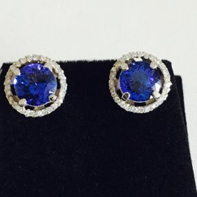 6.00ct Tanzanite and White Diamond EARRINGS