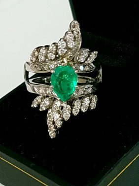 14K Gold, 5.5 Carat Colombian Emerald and Diamond Ring