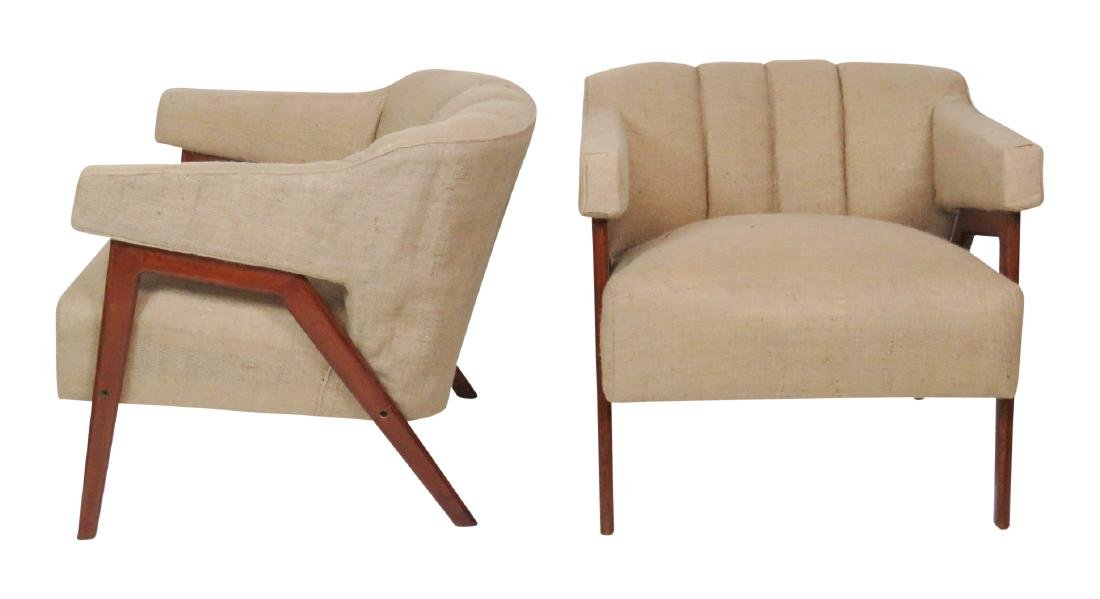 Pair MODERN DESIGN BURLAP LOUNGE CHAIRS