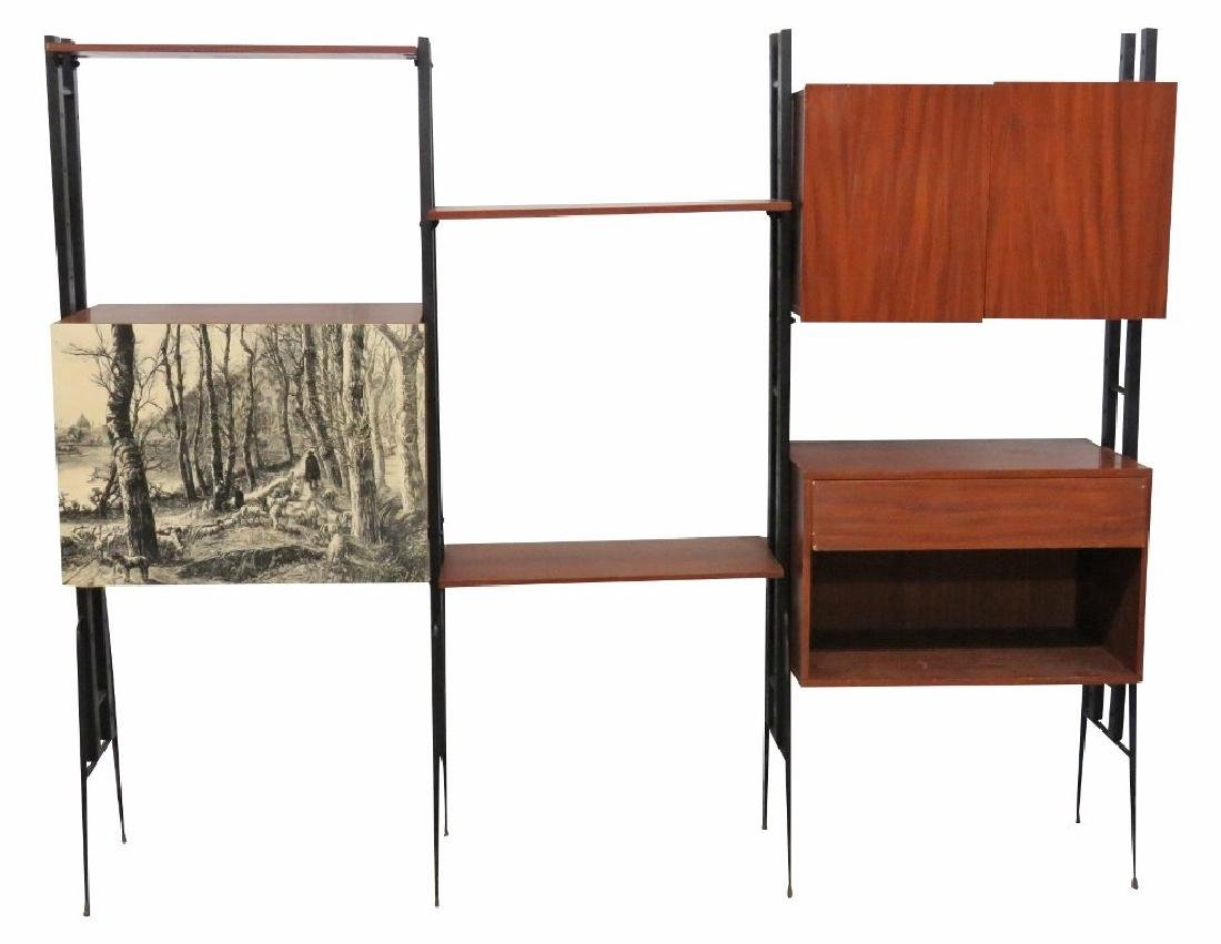 ITALIAN MODERN TEAK & IRON WALL UNIT