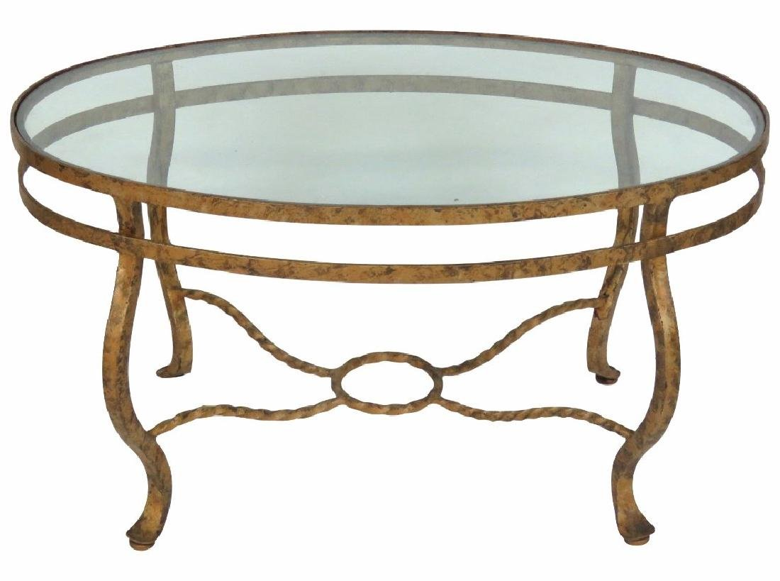 ITALIAN STYLE GILT IRON COFFEE TABLE