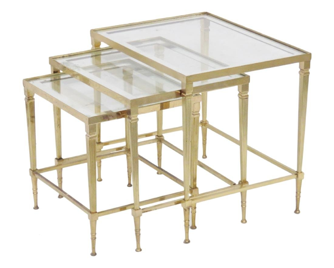 ITALIAN BRONZE GLASSTOP NESTING TABLES