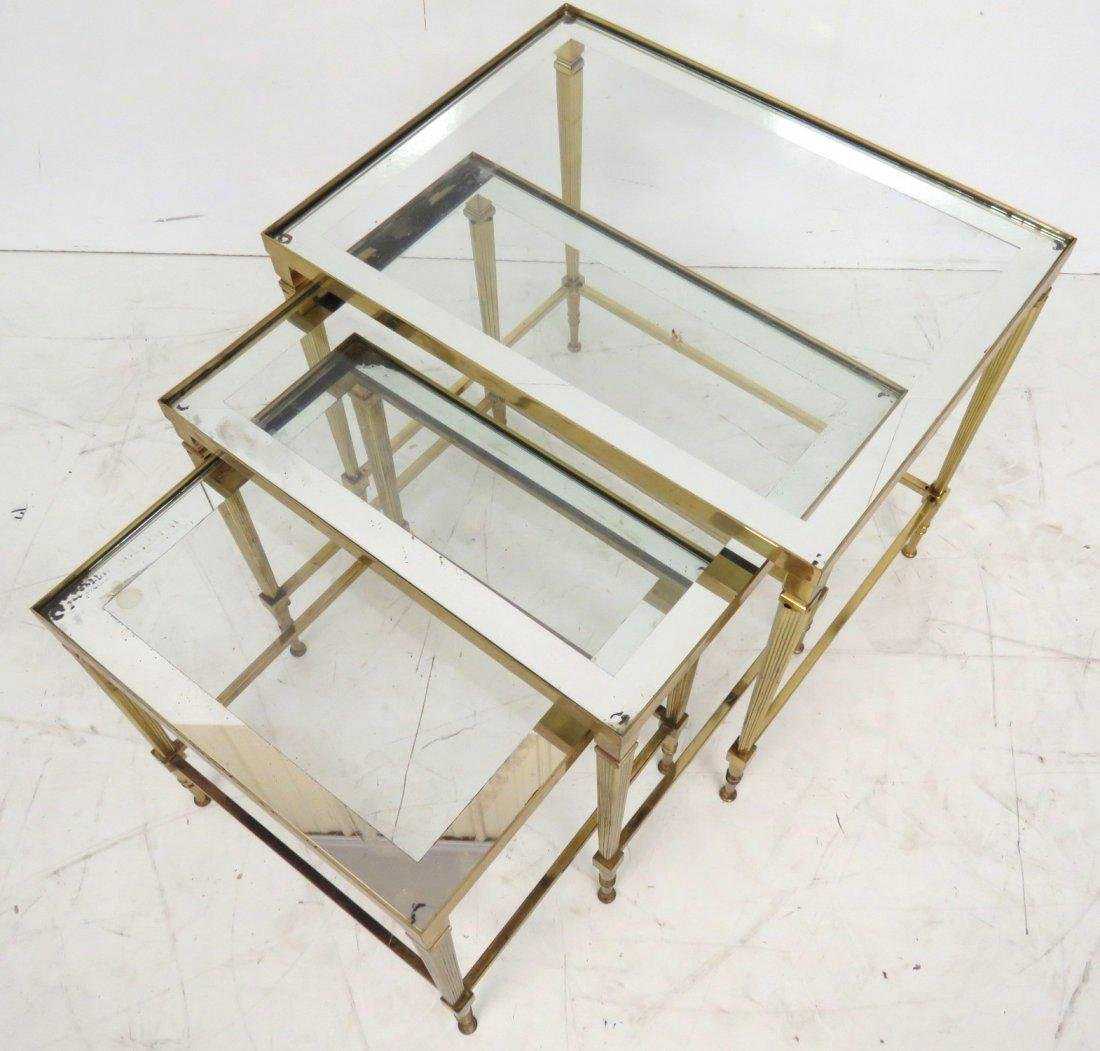ITALIAN BRONZE GLASSTOP NESTING TABLES - 2