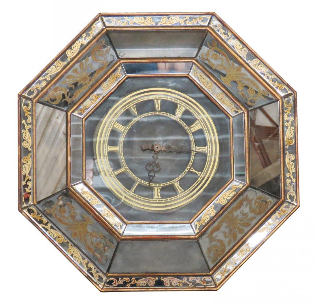 ITALIAN STYLE EGLOMISED MIRRORED HANGING CLOCK