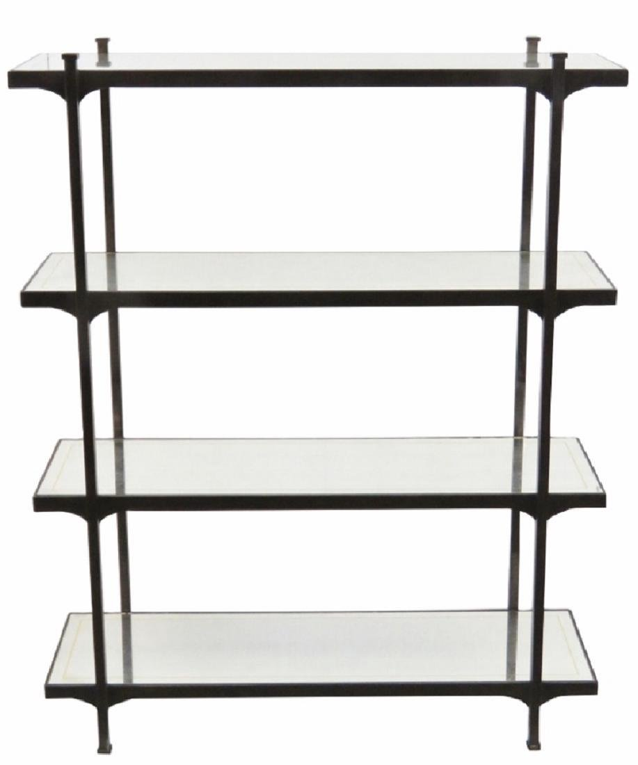 MODERN DESIGN IRON ETAGERE w/ MIRRORED SHELVES