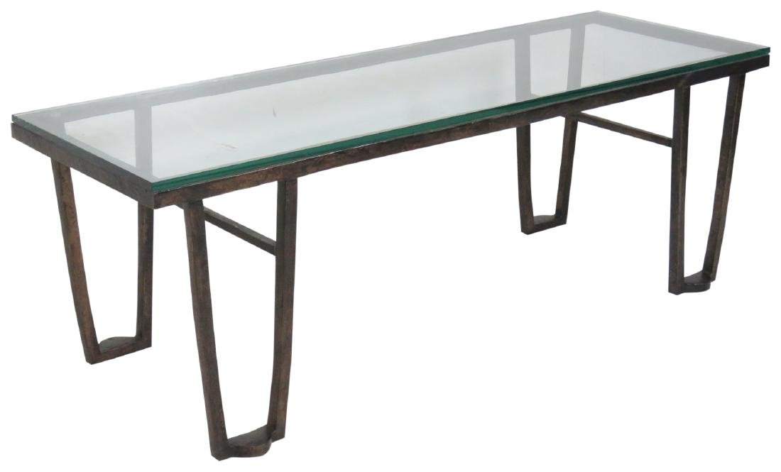 BRONZE GLASSTOP COFFEE TABLE attr. JEAN MICHELE FRANK