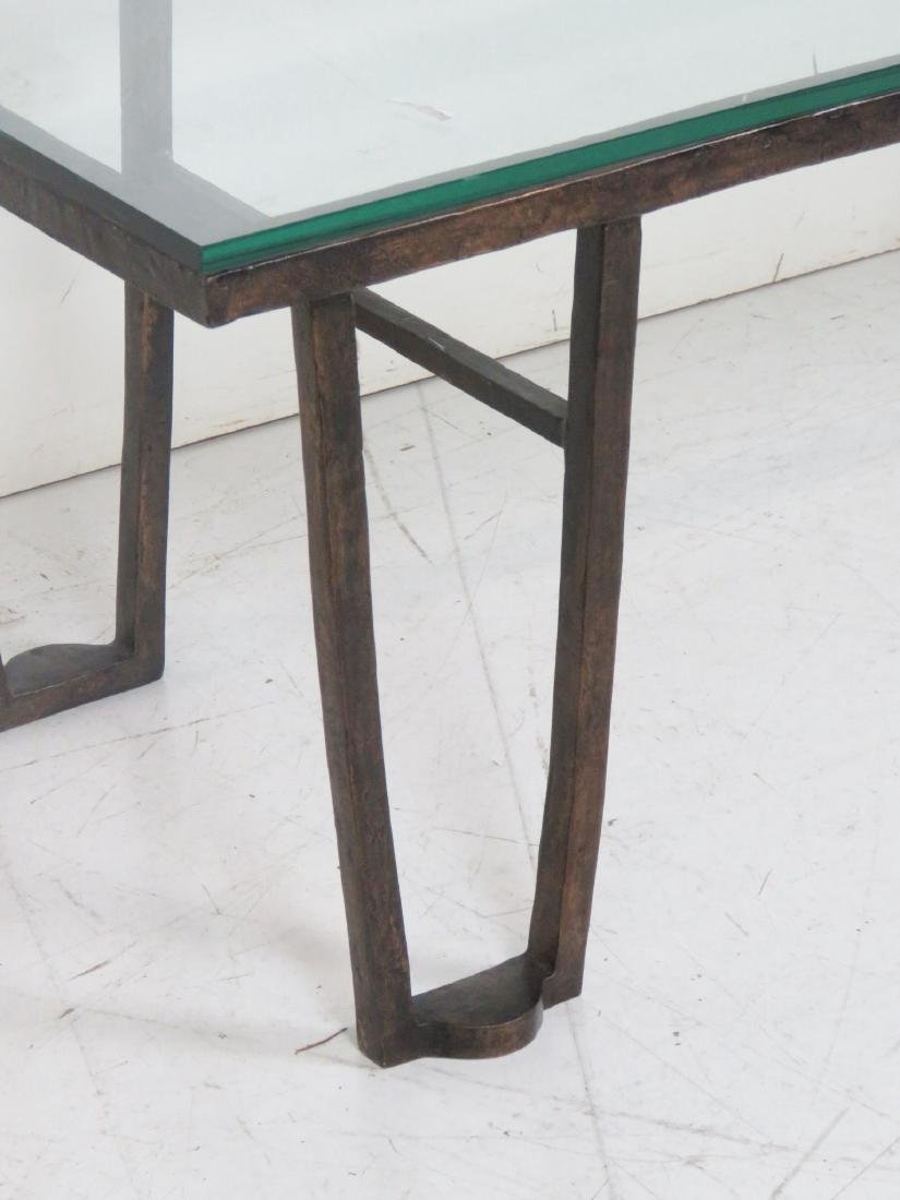 BRONZE GLASSTOP COFFEE TABLE attr. JEAN MICHELE FRANK - 3