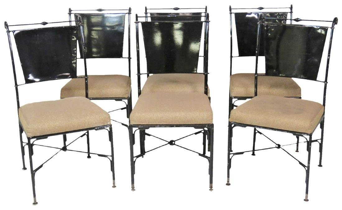 6 EBONIZED & UPHOLSTERED SIDE CHAIRS