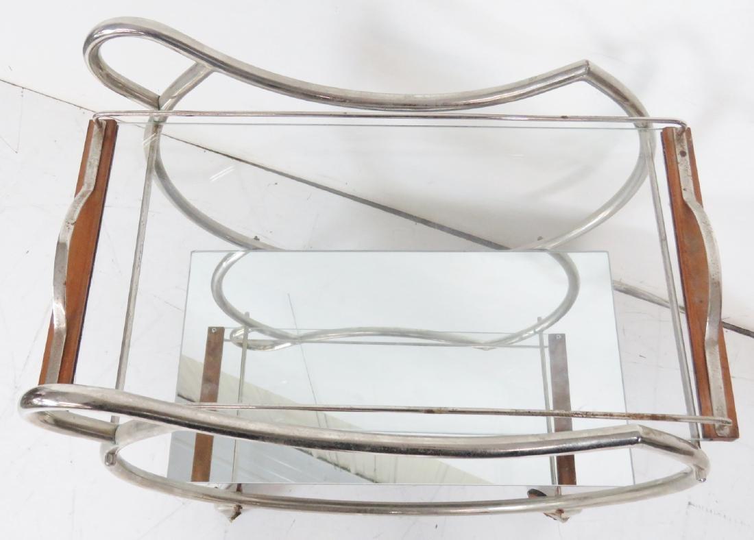 MODERN DECO CHROME & GLASS BAR CART - 2
