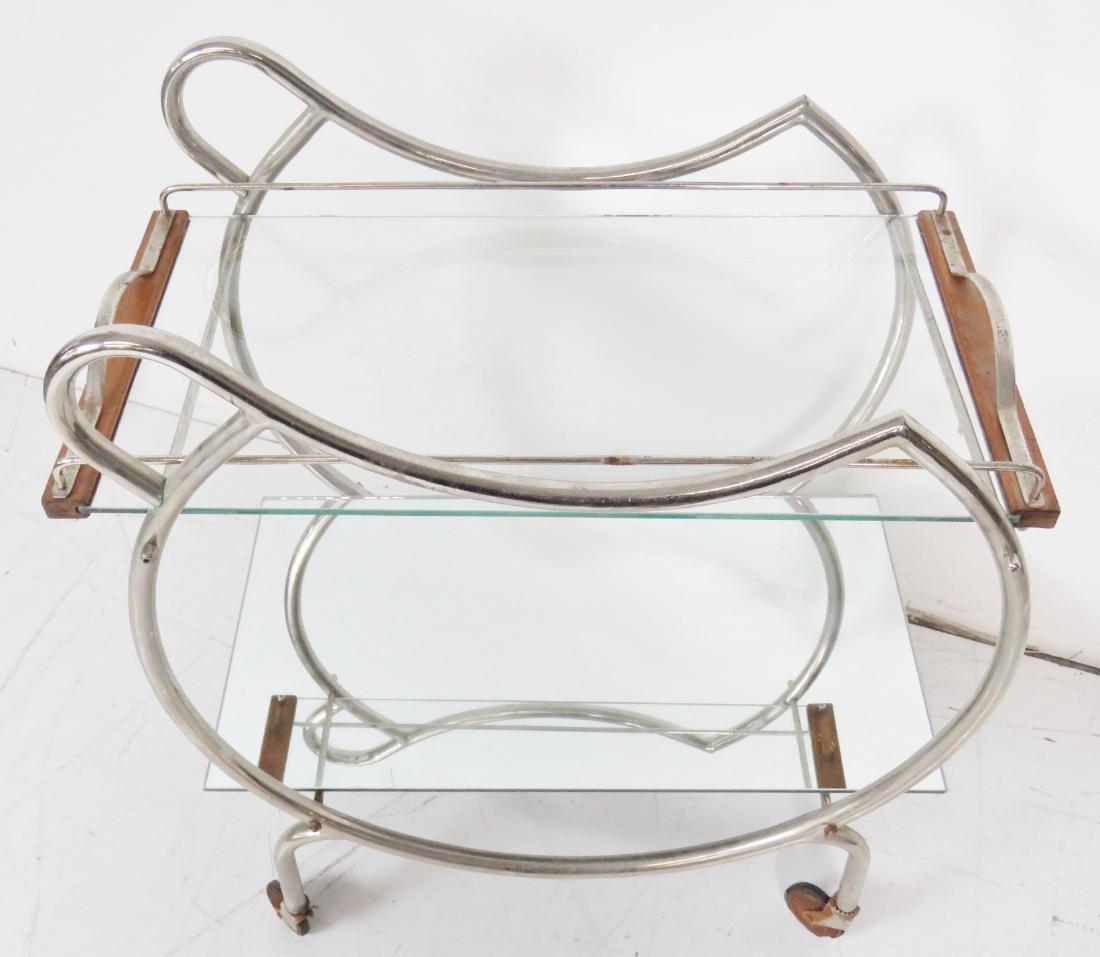 MODERN DECO CHROME & GLASS BAR CART - 3