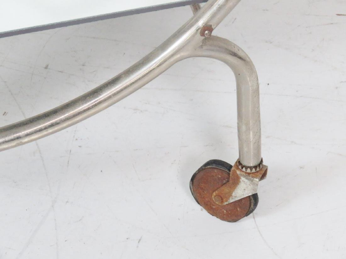 MODERN DECO CHROME & GLASS BAR CART - 6