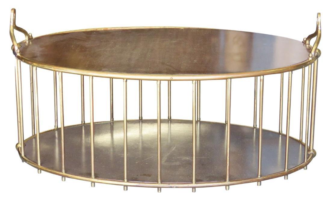 MODERN DESIGN BRASS & WALNUT COFFEE TABLE