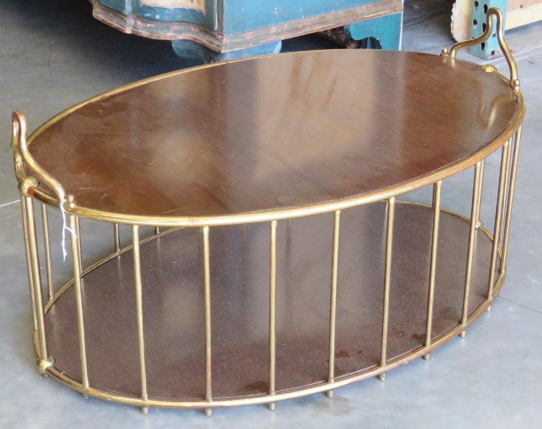 MODERN DESIGN BRASS & WALNUT COFFEE TABLE - 2