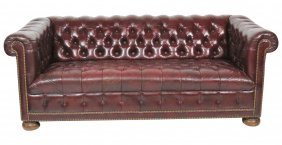 CHESTERFIELD TUFTED RED SOFA