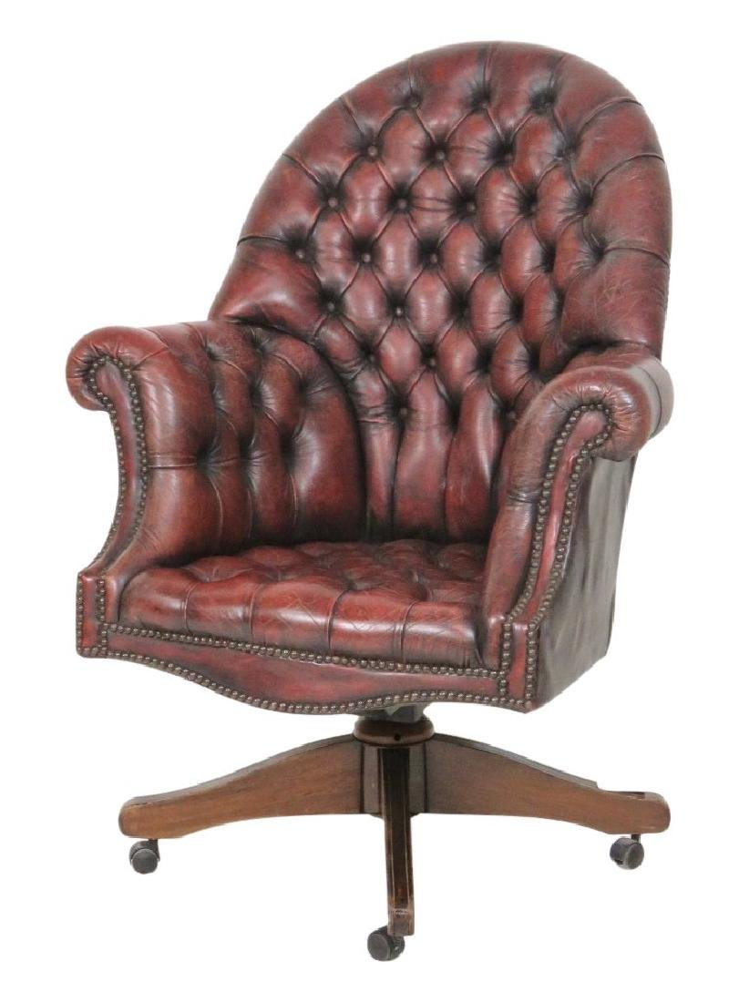 RED LEATHER TUFTED OFFICE CHAIR